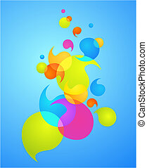 bolha, 3, -, coloridos, fundo
