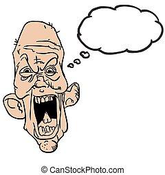 bolha pensamento, antigas, gritando, homem