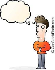 bolha pensamento, caricatura, arrogante, homem