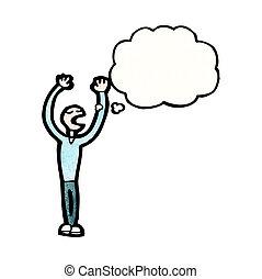 bolha pensamento, caricatura, homem
