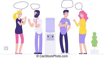 bolhas, conceito, escritório negócio, falando, informal, homens, geladeira água, vetorial, fala, social, distribuidor, meeting., bebendo, mulheres