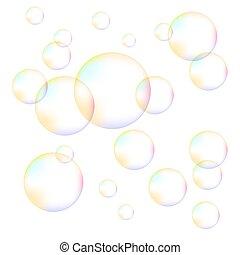 bolhas, espuma, transparente, coloridos