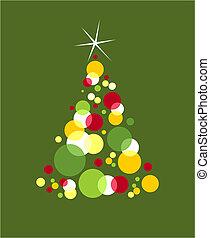 bolhas, formado, árvore, colorido, natal