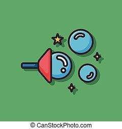 bolhas, soprando, ícone
