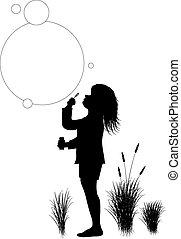 bolhas, soprando, criança