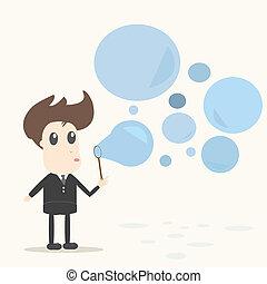 bolhas, soprando