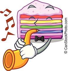 bolo, arco íris, forma, trompete, caricatura
