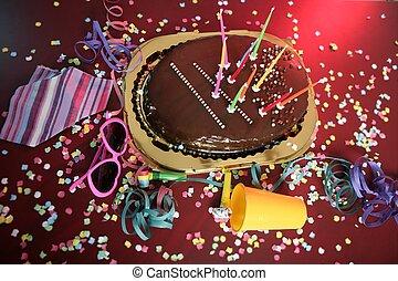 bolo chocolate, partido, sujo, tabela, feriado