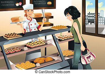 bolo, panificadora, comprando, loja