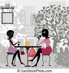 bolo, verão, menina, café