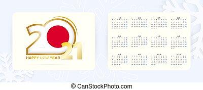 bolso, ícone, japoneses, language., 2021, ano civil, japan., horizontais, novo, bandeira