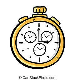 bolso, doodle, estilo, relógio