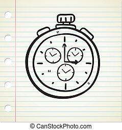bolso, doodle, relógio