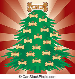 bom, árvore natal, cachorros