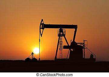 bomba, óleo, pôr do sol, isolado