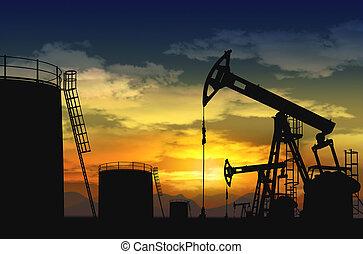bomba, tanque óleo, macaco