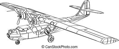 bombardeiro, barco patrulha, consolidated, pby, desenho, linha, voando, anfíbio, aeronave, catalina
