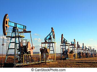 bombas óleo, trabalhando, fila