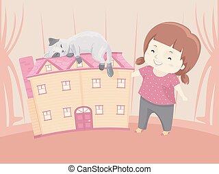 boneca, casa, ilustração, gato, menina, criança