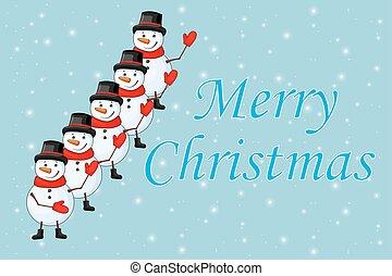 boneco neve, chapéu superior, fundo, laço, branca