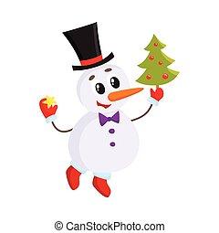 boneco neve, cute, pequeno, engraçado, árvore, decorando, natal