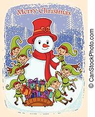 boneco neve, duende, feliz, presente, natal