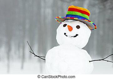 boneco neve, engraçado, inverno