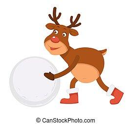 boneco neve, engraçado, polar, veado, botas, faz, natal