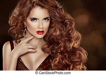 bonito, accessories., ondulado, moda, hairstyle., cacheados, beleza, compor, longo, luxuoso, cabelo, mulher, portrait., cabelo, lustroso, hair., menina, modelo, vermelho, extensions.