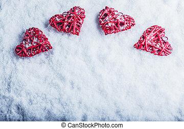 bonito, amor, romanticos, vindima, st., valentines, neve, dia, quatro, experiência., gelado, corações, branca, concept.