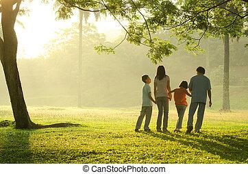 bonito, andar, silueta, família, parque, amanhecer, durante, backlight