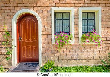 bonito, antigas, exterior casa, porta frente