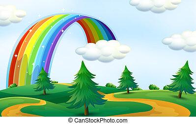 bonito, arco íris, paisagem