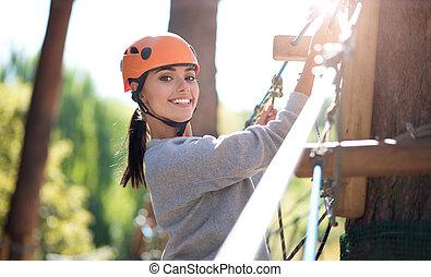 bonito, atividades, mulher, emocional, escalando