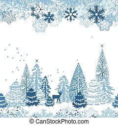 bonito, azul, inverno, padrão, seamless, floresta