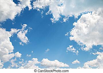 bonito, azul, nuvens, experiência., céu