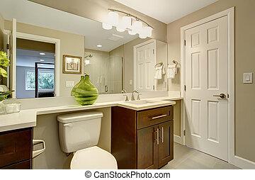 bonito, banheiro, verde, vase.