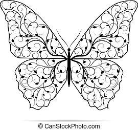 bonito, borboleta, pattern., floral