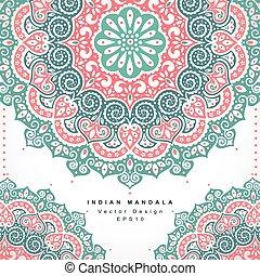 bonito, c, ornament., saudação, invitation., indianas, casório, floral