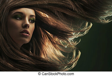 bonito, cabelo marrom, senhora, longo