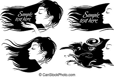 bonito, cabelo, menina, longo