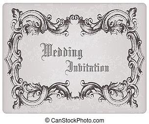 bonito, cartão postal, quadro, convite, -, desenho, retro, casório, scrapbook