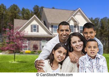 bonito, casa, frente, família, hispânico