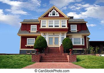 bonito, casa, vermelho