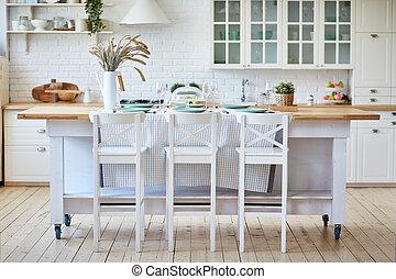bonito, chairs., madeira, ilha, tabela, branca, cozinha
