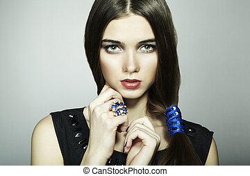 bonito, close-up, moda, jovem, retrato, woman.