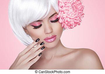 bonito, cor-de-rosa, moda, nails., beleza, sobre, makeup., treatment., menina, flower., mulher, fundo, manicured, retrato, loiro, modelo