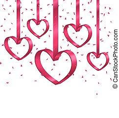 bonito, corações, fita, ouropel, fundo