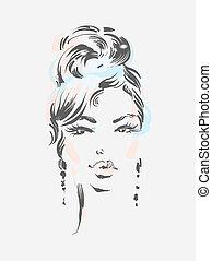 bonito, desgastar, mulher, 10, eps, ilustração, vetorial, earrings.