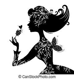 bonito, elegante, mulher, silueta